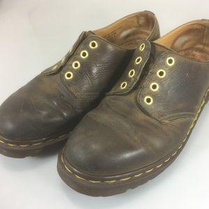 Dr Martens Brown Aztec Crazy Horse Shoes 4 Eyelets